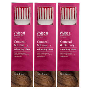 Viviscal Conceal & Densify Volumizing Hair Fibres - Light Brown 3 Pack
