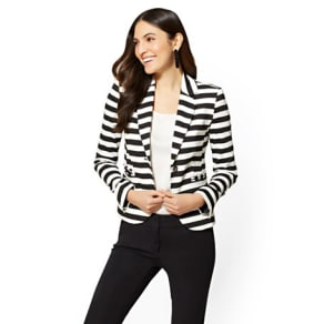 7th Avenue One-Button Jacket - Black & White Stripe