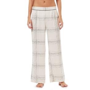 Nine by Savannah Miller Ivory Satin Check Print Pyjama Bottoms