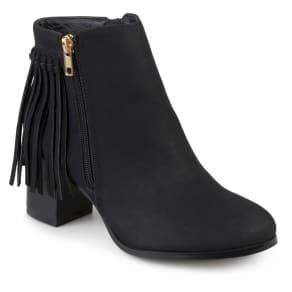 Women's Journee Collection Viv Faux Leather Fringe Booties - Black 10
