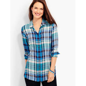Talbots Women's The Long Button Back Shirt: Kasey Plaid