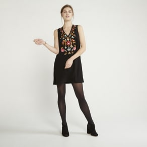 Apricot - Black Embroidered Shift Dress