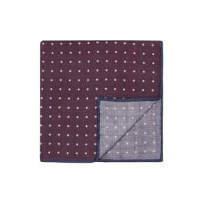 """Burgundy Pin Spot Silk Wool Pocket Square"""