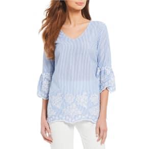 Calvin Klein Floral Embroidered Stripe V-Neck Flare Sleeve Top