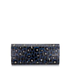 Sweetie Pop Blue Mix Leopard Print Fine Glitter Acrylic Clutch Bag