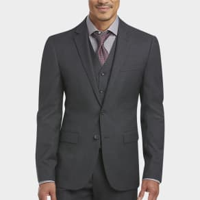 Awearness Kenneth Cole Gray Check Extreme Slim Fit Vested Suit