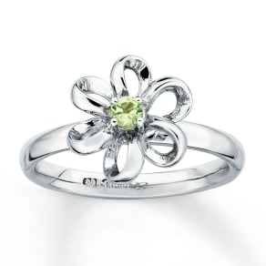 Stackable Flower Ring Peridot Sterling Silver