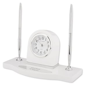 White Double-Pen Stand With Clock