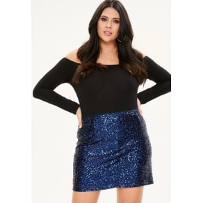 Curve Blue Sequin Mini Skirt, Blue