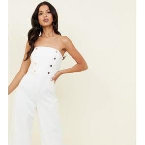 e5a9970e7fd2 White Double Button Front Bandeau Jumpsuit New Look