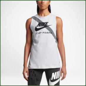 Womens Nike International Signal Sash Tank - Birch Heather/Black