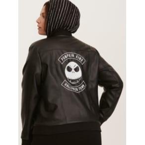 Nightmare Before Christmas Jack Skellington Moto Jacket in Black