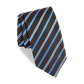 Men's Boss Stripe Silk Tie, Size Regular - Black