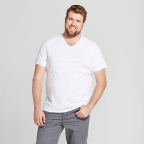 Men's Big & Tall Standard Fit Short Sleeve V-Neck T-Shirt - Goodfellow & Co White 3xb