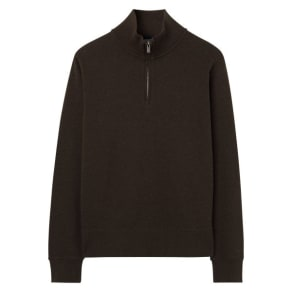 Sacker Rib Half-Zip Sweater - Dk Brown Melange