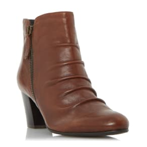 Linea Olana Ruched Buckle Ankle Boots, Brown