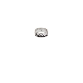 Mens Silver Look Flame Band Ring, Silver