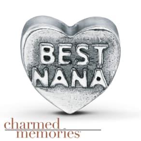 "Charmed Memories ""Best Nana"" Charm Sterling Silver"