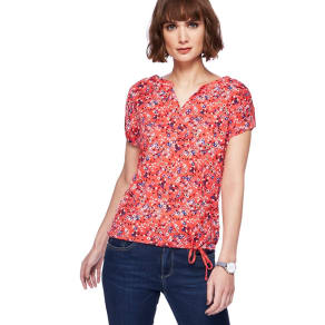 Mantaray Red Ditsy Print Bubble Hem Top