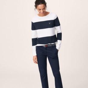 Pique Block Stripe Jumper - Evening Blue