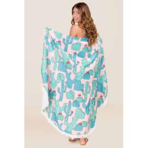 Round Cactus Beach Blanket
