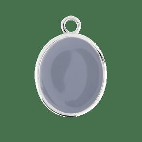 Silver Oval Grey Enamel Pendant Charm