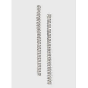 Womens Silver Cup Chain Drop Earrings