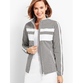 Talbots Women's Gingham Woven Colorblock Jacket