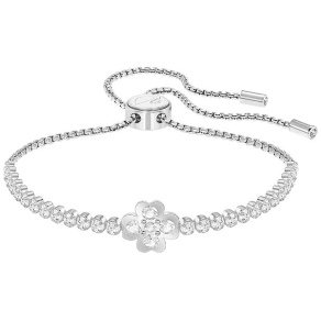 Swarovski Subtle Clover Bracelet, White, Rhodium Plating White Rhodium-Plated