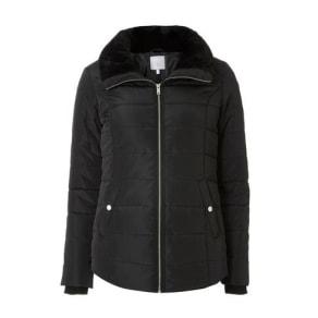 Womens Petite Black Faux Fur Collar Puffer Jacket