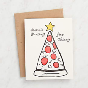 Chicago Pizza Christmas Tree Card
