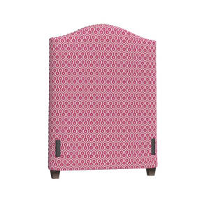 Raleigh Twin Camelback Headboard, Pewter NH, Leila Geo Bright Pink