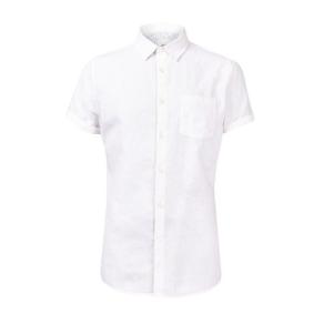 Mens White Short Sleeve Linen Shirt, White