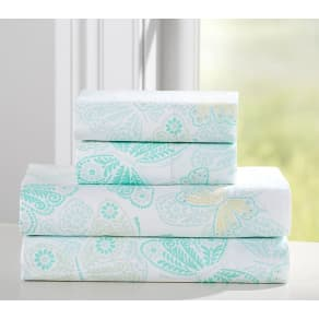 Ava Butterfly Sheeting, Twin, Aqua