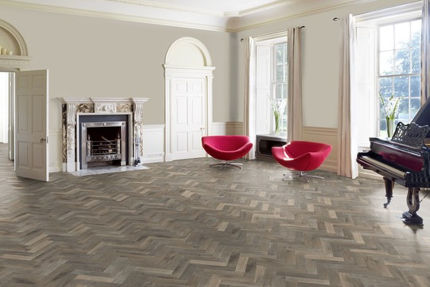 Natural Solid Flooring Oak Herringbone Smoked White Brushed Hardwax Oiled 18mm By 70mm By 280mm