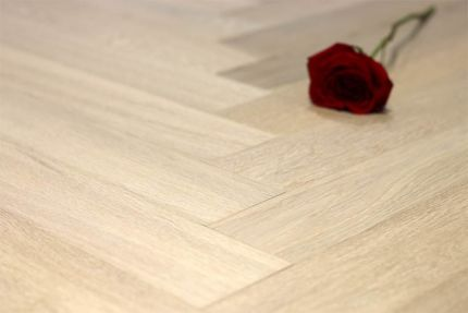 Prime Engineered Flooring Oak Herringbone Sunny White Brushed UV Oiled 14/3mm By 98mm By 790mm