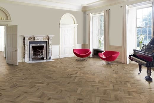 Natural Solid Flooring Oak Herringbone Titanium Grey Brushed Hardwax Oiled 18mm By 70mm By 280mm