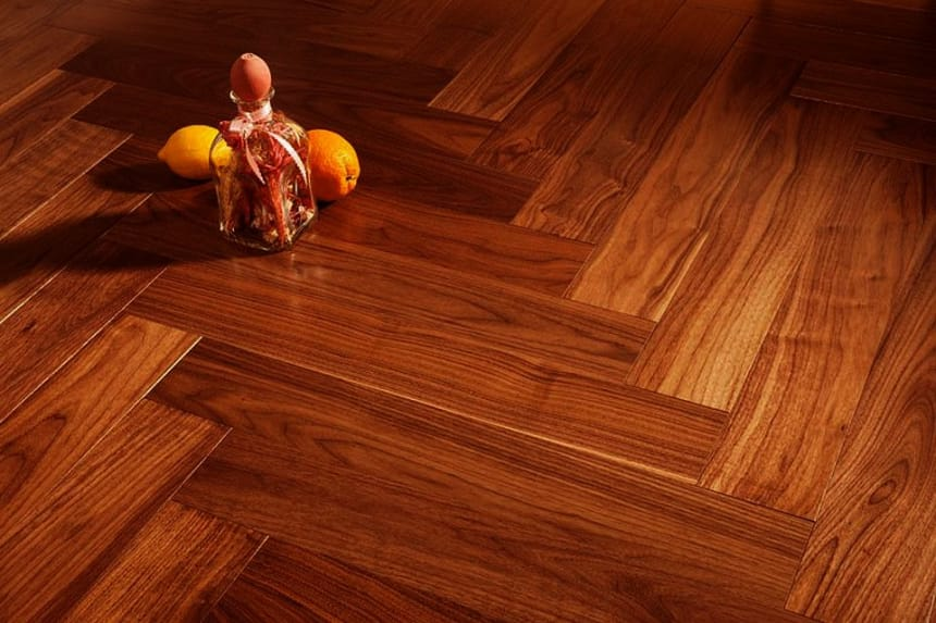 Prime Engineered American Walnut Herringbone UV Lacquered 15/3mm By 97mm By 582mm