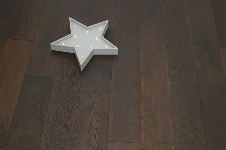 Natural Engineered Flooring Oak Black Tea Brushed UV Oiled 14/3mm By 190mm By 1800mm