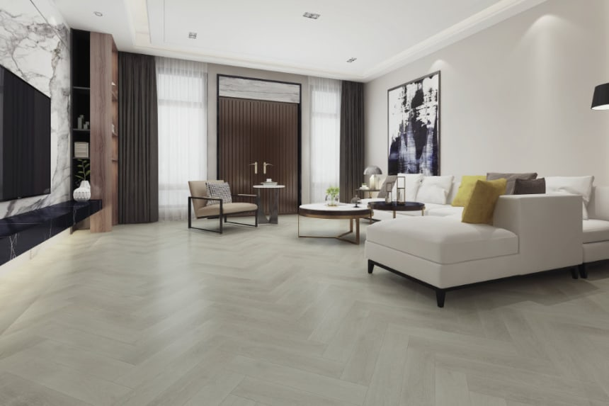 Luxury Click Vinyl Rigid Core IXPE Herringbone Flooring Pure White 6mm By 126mm By 630mm