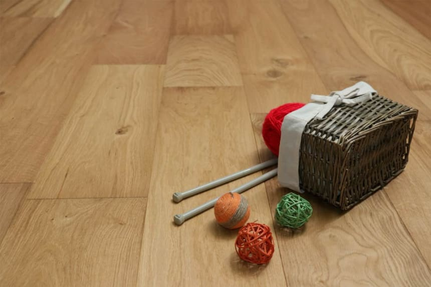 Natural Engineered Flooring Oak Click Brushed UV Oiled 14/3mm By 190mm By 1900mm