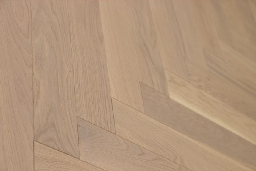 Natural Engineered Flooring Oak Herringbone White UV Oiled 14/3mm By 90mm By 450mm