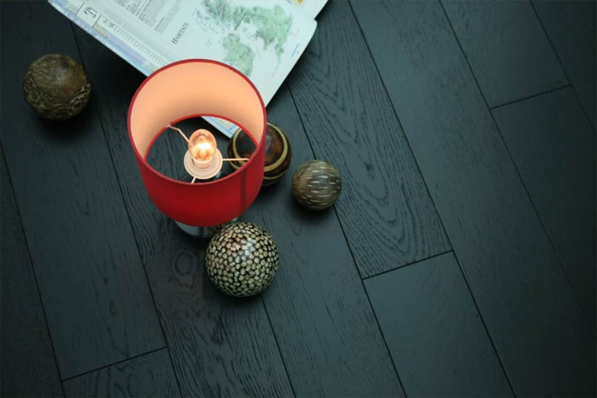 Natural Engineered Flooring Oak Jet Black Brushed UV Lacquered 20/5mm By 180mm By 1900mm