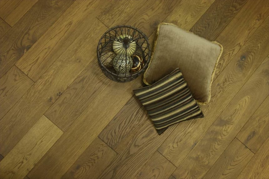 Natural Engineered Flooring Oak Smoked Brushed UV Oiled 20/6mm By 180mm By 1900mm