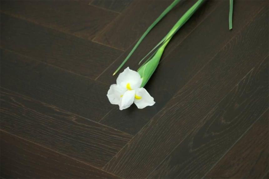 Prime Engineered Flooring Oak Herringbone Black Tea Brushed UV Matt Lacquered 14/3mm By 98mm By 588mm
