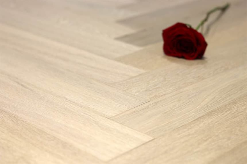 Prime Engineered Flooring Oak Herringbone Sunny White Brushed UV Oiled 14/3mm By 98mm By 790mm