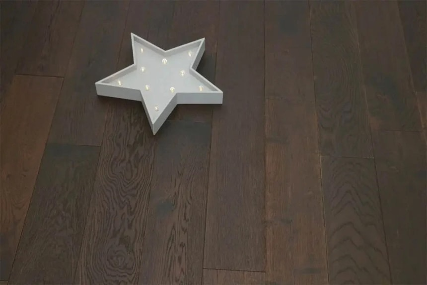 Rustic Engineered Flooring Oak Black Tea Brushed UV Oiled 10/3mm By 150mm By 600-1200mm