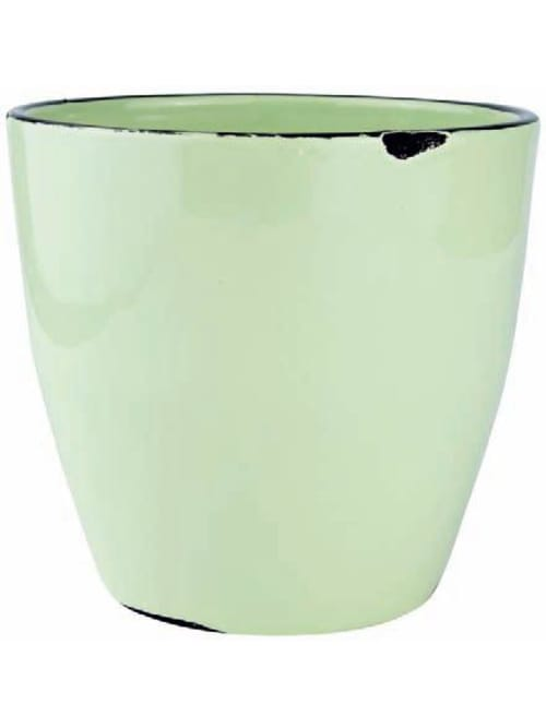 Kj Collection Vaso Verde Chiaro In Ceramica - D:17,0 Cm H:16,0 Cm