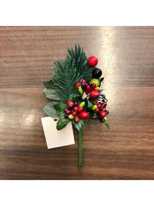 Pick decorativo con bacche e pigne per Natale