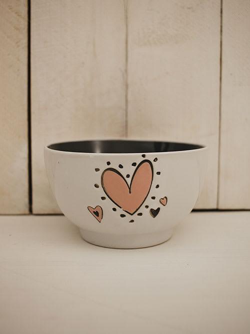 Ciotola bianca con cuore rosa, in ceramica, Faye